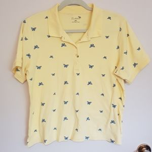 Vintage butterfly print polo shirt
